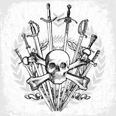 Vector Skull and Cross Bones with Swords
