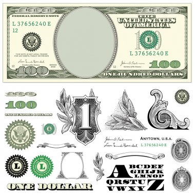 one dollar bill vector set