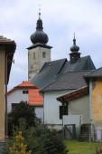 Pohled na starý kostel ve městě Liptovský Jan, Slovensko