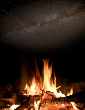 hot fire under night sky
