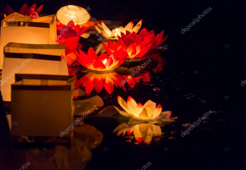 Floating Lotus Flower Paper Lanterns On Water Stock Photo
