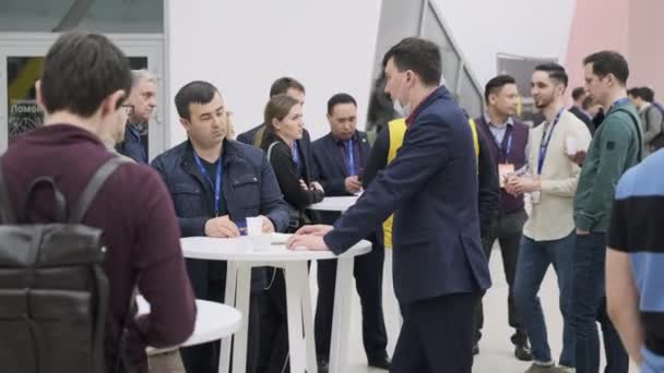 Business people communicating in conference center