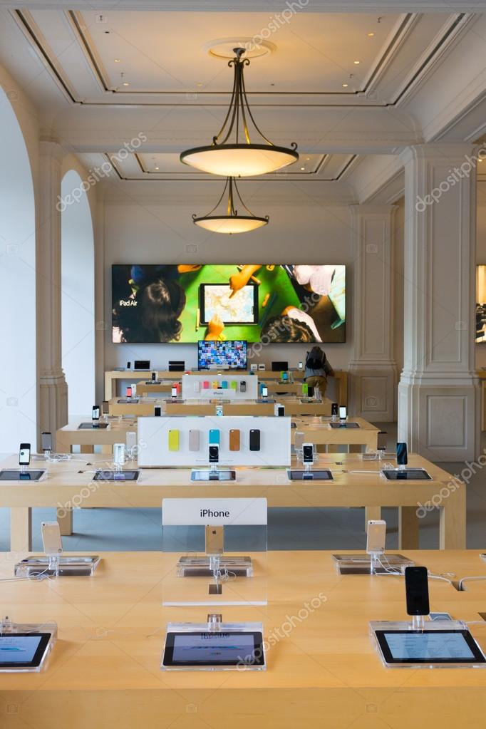 AMSTERDAM - AUGUST 28: Apple store interior on August 28, 2014 in  Amsterdam.  Photo by toxawww