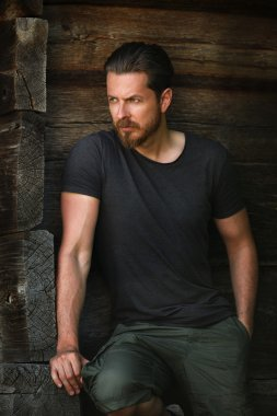Handsome sexy man posing fashion