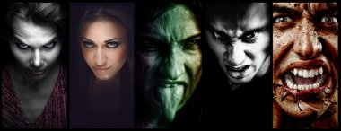 Halloween collage evil scary faces of women and men