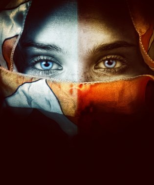 Woman with beautiful eyes and veil