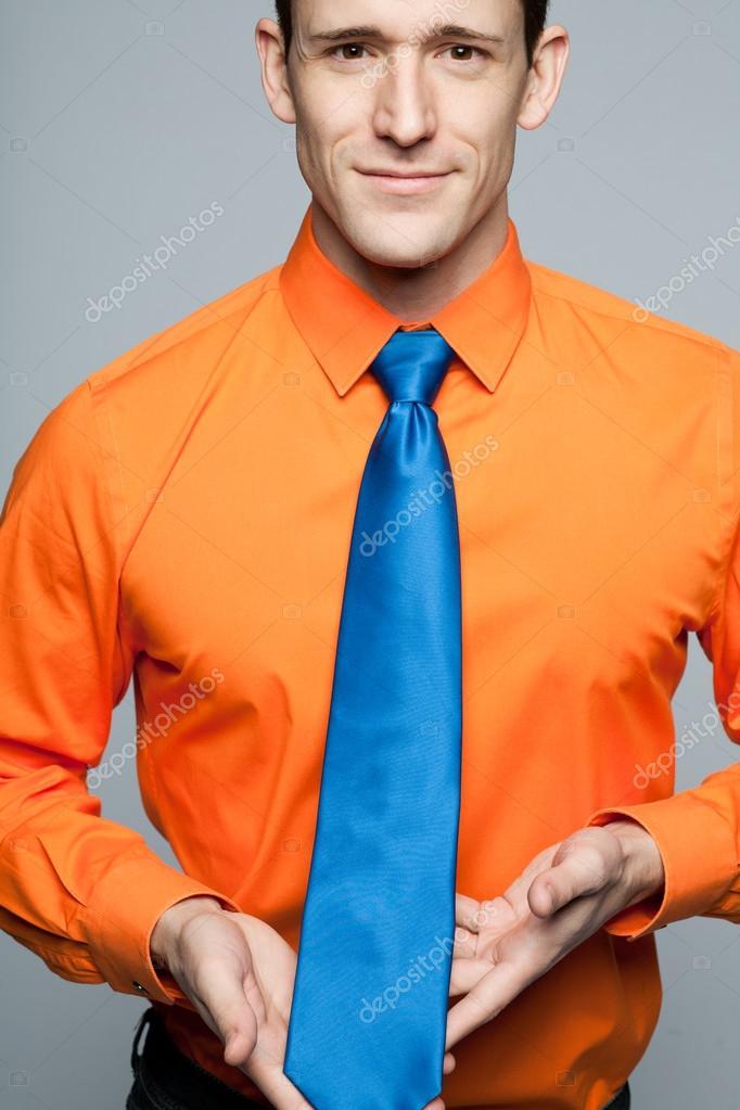 Y Azul En Corbata Camisa Feliz Naranja Hombre 8xHZnwqIOW