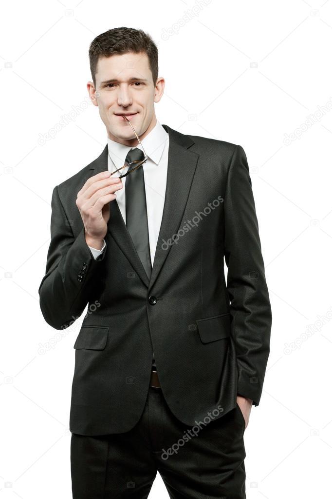 Overhemd Voor Pak.Zakenman In Wit Overhemd En Zwart Pak Stockfoto C Mirmoor 90039812