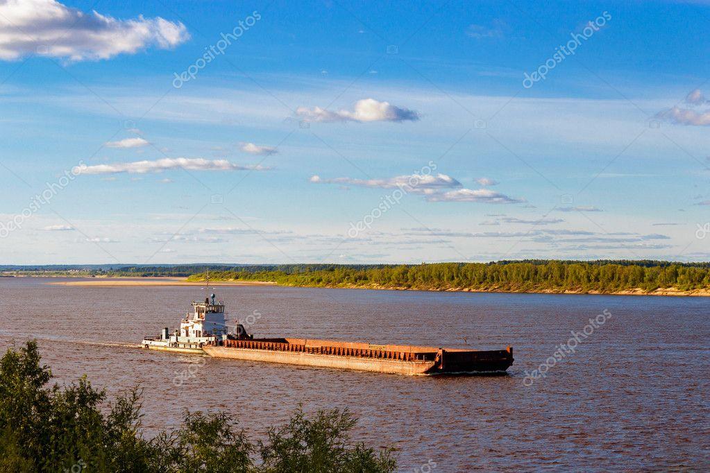 barge on river