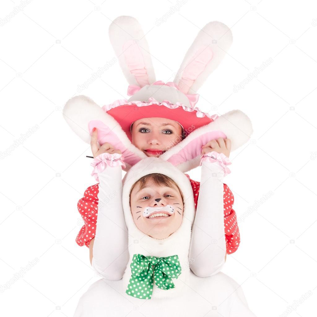 actores bailando en trajes de conejitas — Foto de stock © lanych ...
