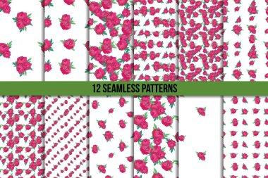 Seamless pattern set with pink peonies