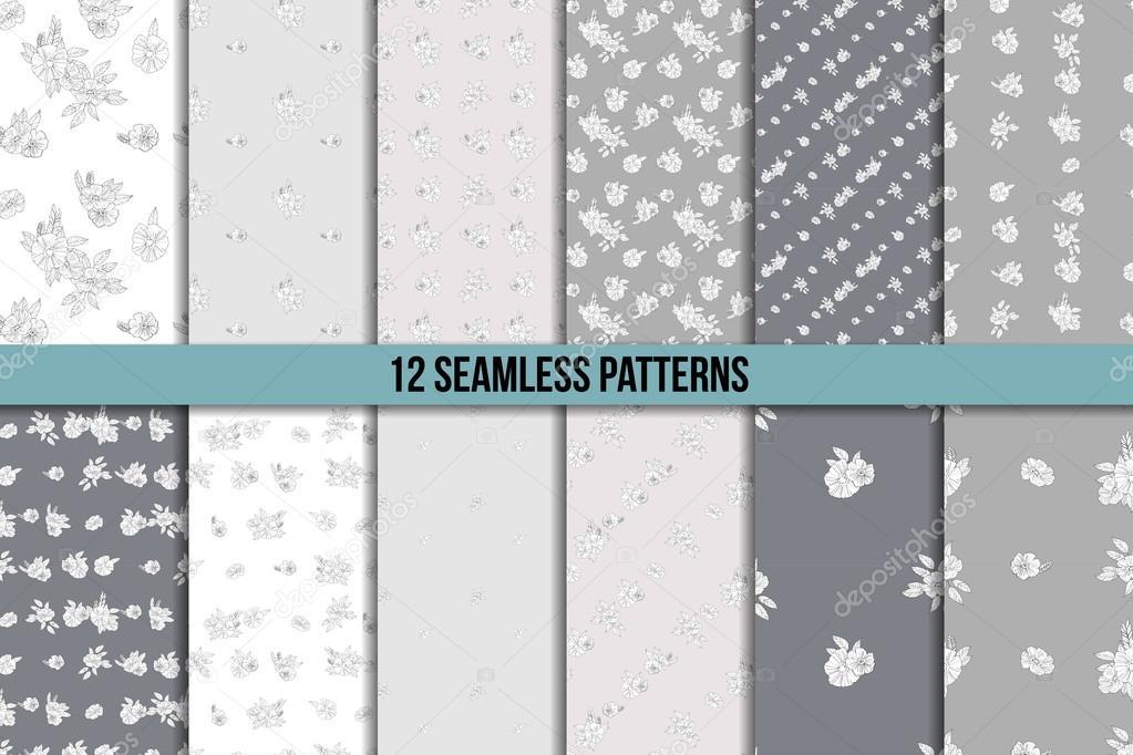 set of twelve black and white floral patterns