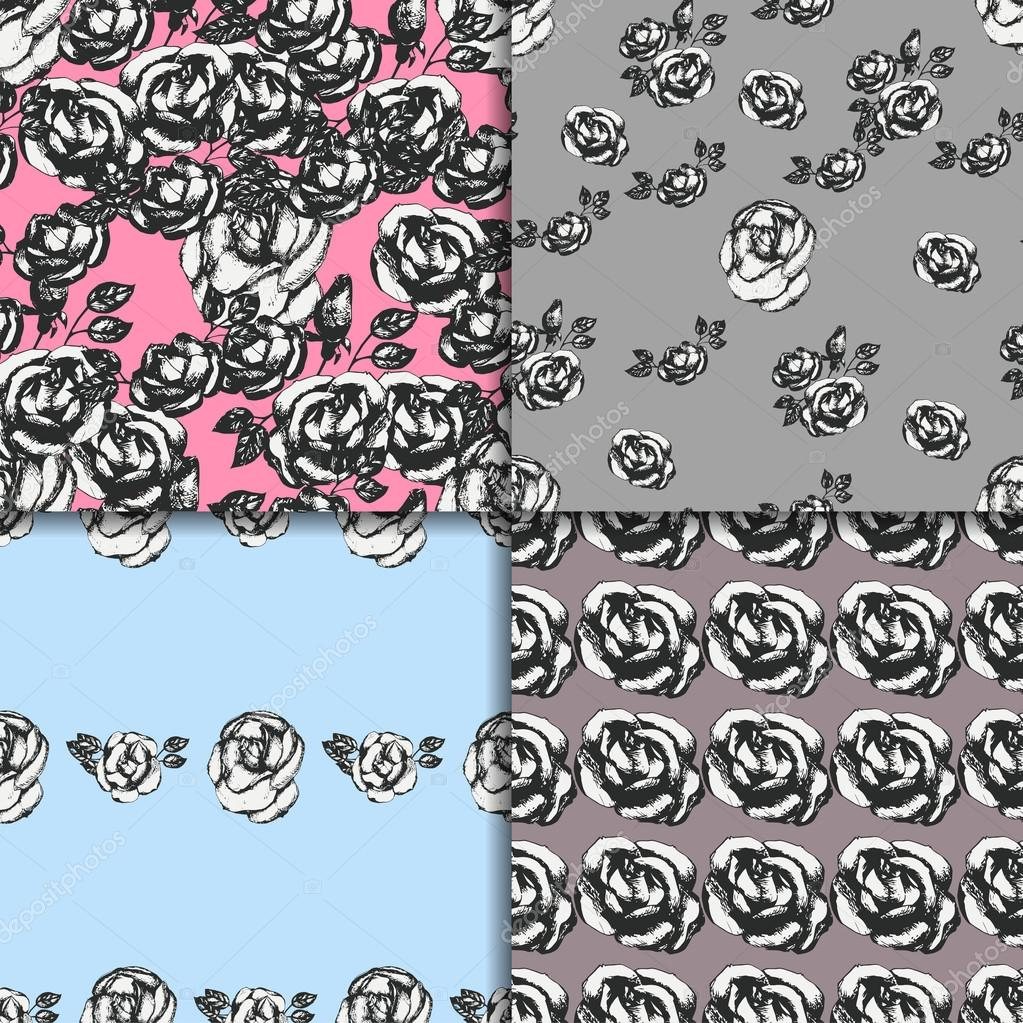 Vintage black and white rose patterns