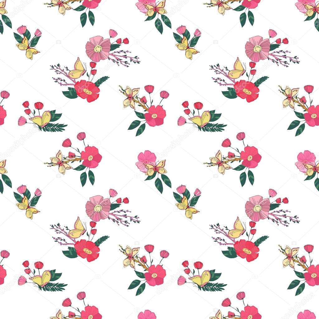 Floral Seamless Vintage Wildflowers Pattern