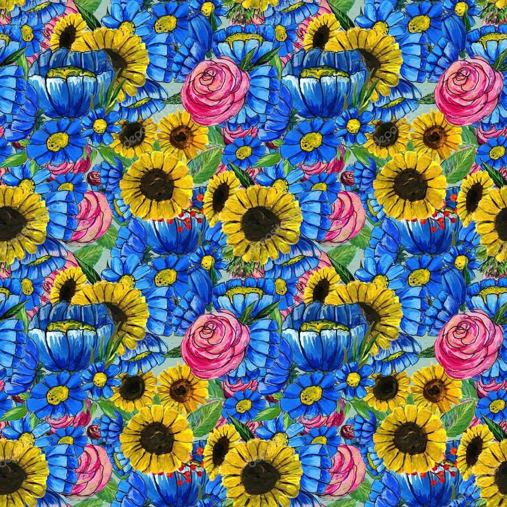 Seamless Pattern With Blue Yellow And Pink Flowers Stock Photo