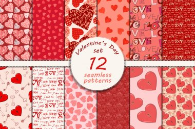 Big set of seamless valentines day patterns, eps 10 clip art vector