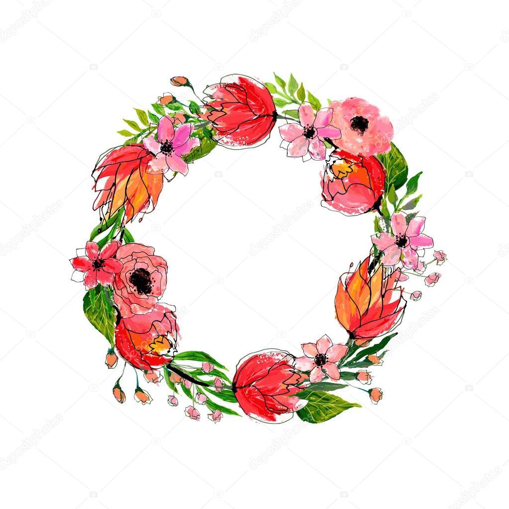 Watercolor flowers wreath