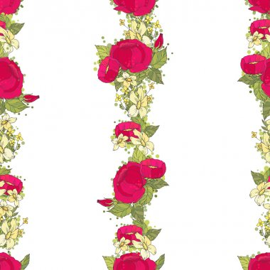Seamless pattern with red peonies