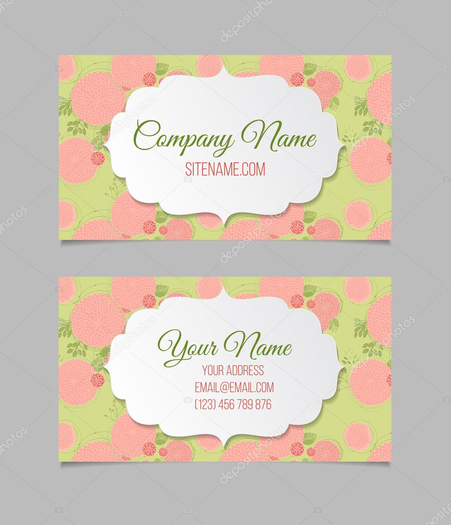 Double-sided floral business card