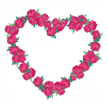 Floral heart made of peony