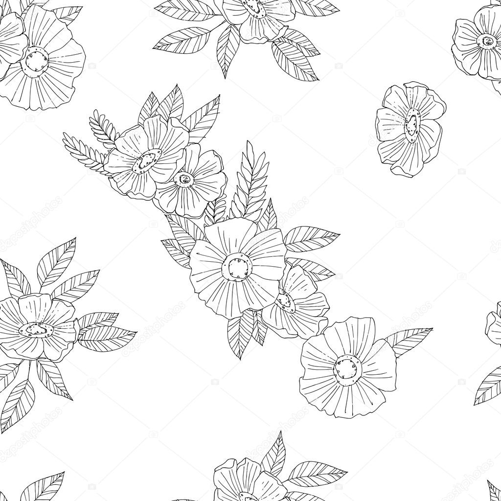 black and white flowers on  white background