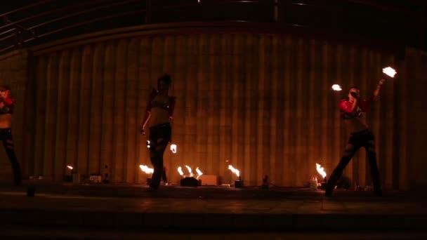 Minsk, Bělorusko - 29. září: ohňová show