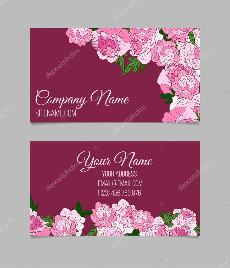 Beautiful floral business cards stock vector lolya1988 93888962 double sided floral business card template with beautiful peonies on purple background vector by lolya1988 cheaphphosting Image collections