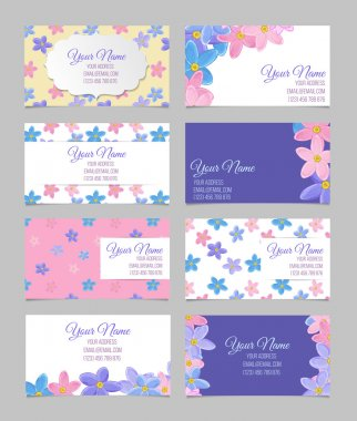 Set of eight floral business cards