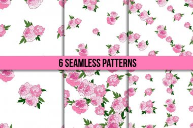 Seamless pattern set with pink peonies