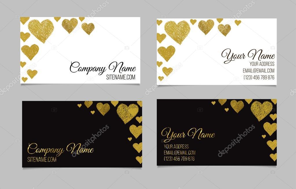 Visitenkartenvorlage Oder Visitenkarte Set Mit Goldener