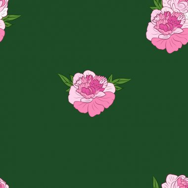 Seamless pattern with pink peonies