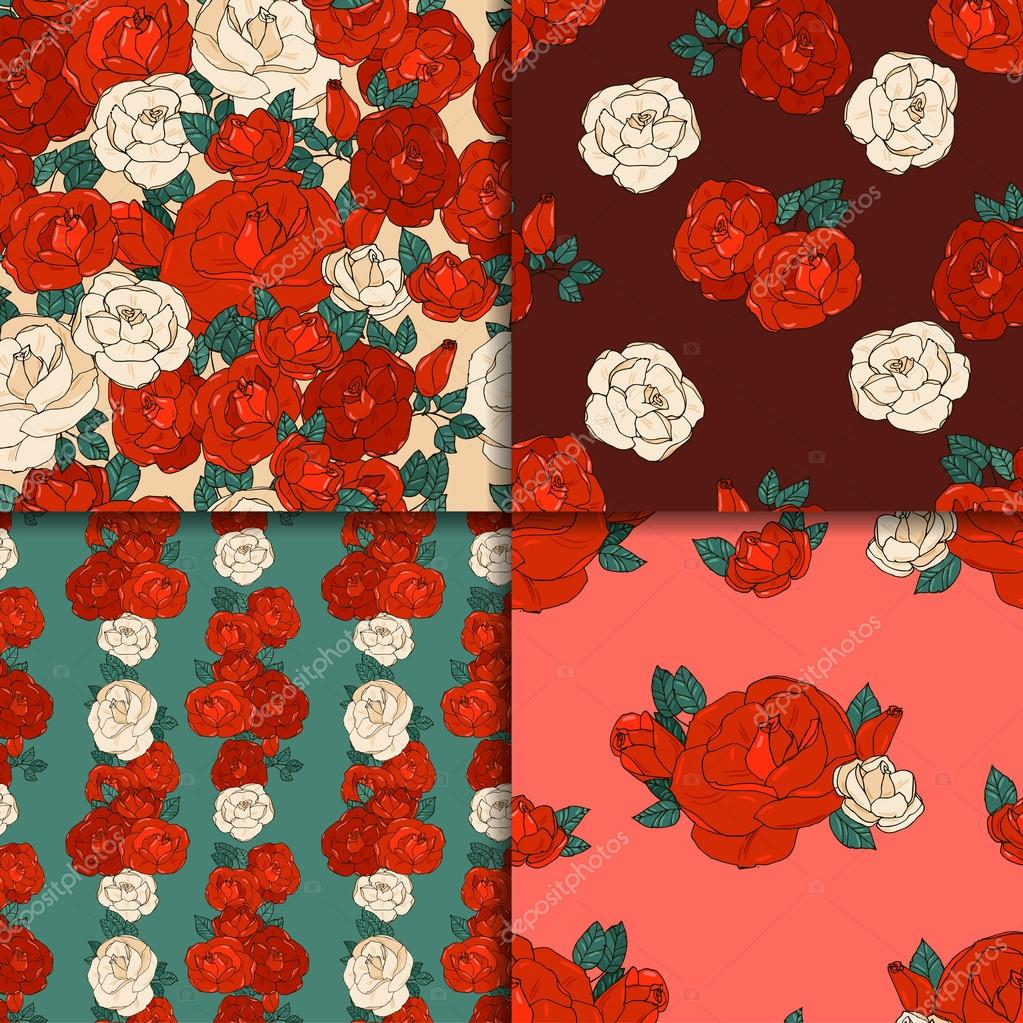 Set of four seamless patterns.