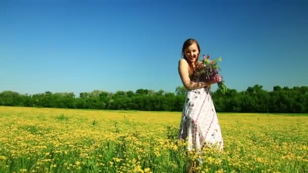 Happy teen laughs with flowers