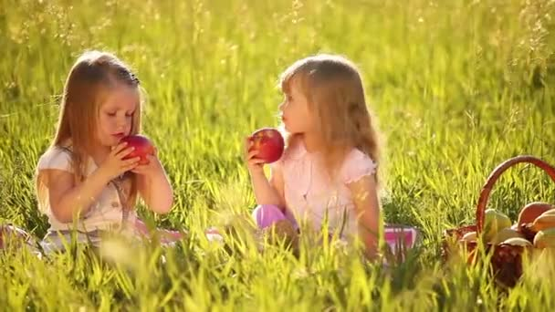 Two sisters eating apples in the meadow