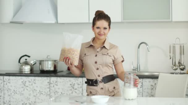 Girl standing in kitchen