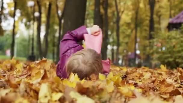 A sárga-őszi levelek zuhanó kislány