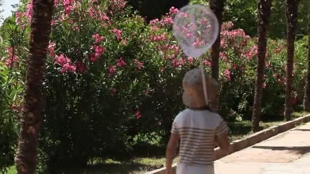 smějící se dívka s butterfly net