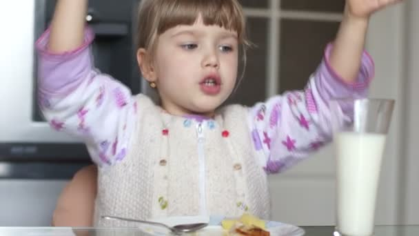 Girl eating tasty food