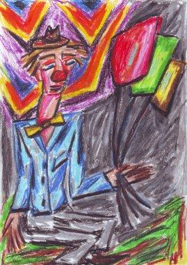 Clown oil pastel painting