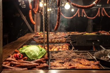 Sausages on grill - street fast-food