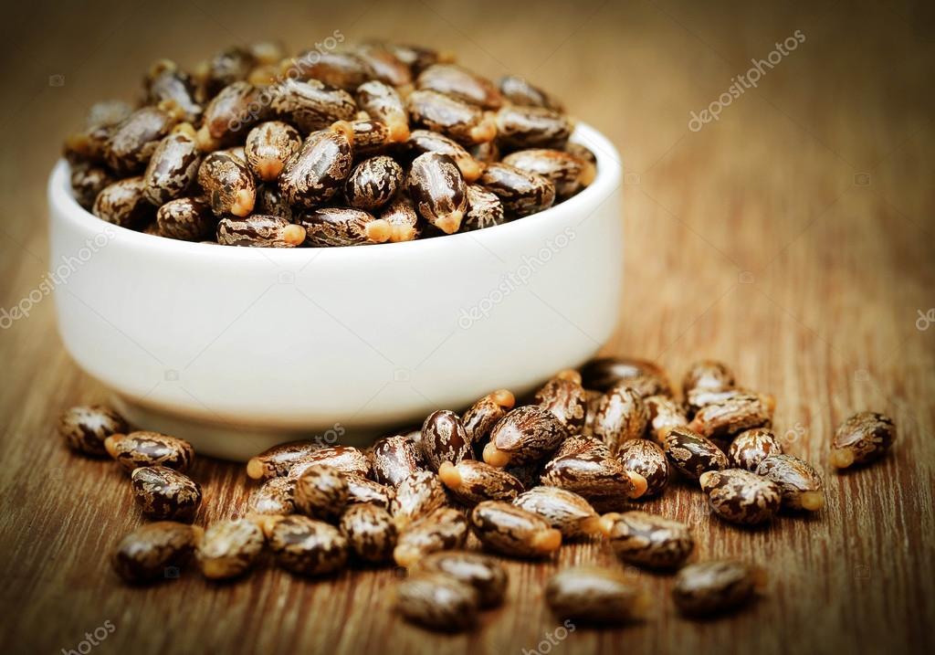 Castor beans in a ceramic bowl