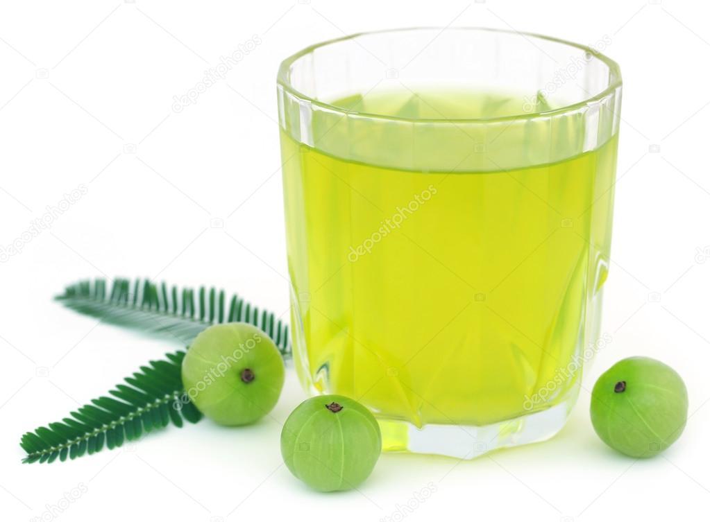 Herbal amla juice with fresh fruits