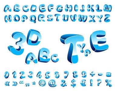 Blue cartoon alphabet