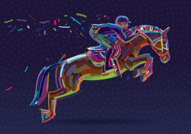 Equestrian sport- rider in jumping show.