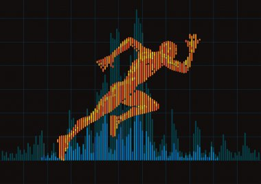 Concept of a running man and digital equalizer.