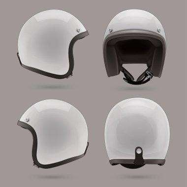White motorbike classic helmet.