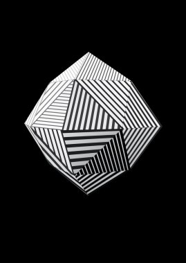 Polyhedron with black and white striped faces for graphic design