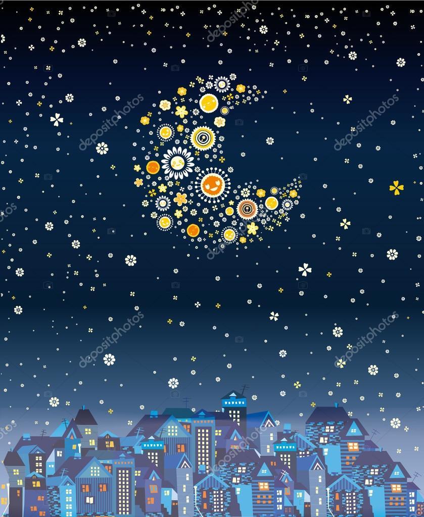 Beautiful night city with the stars stock vector kotyara13 beautiful night city with the stars and the moon made of flowers vector by kotyara13 izmirmasajfo