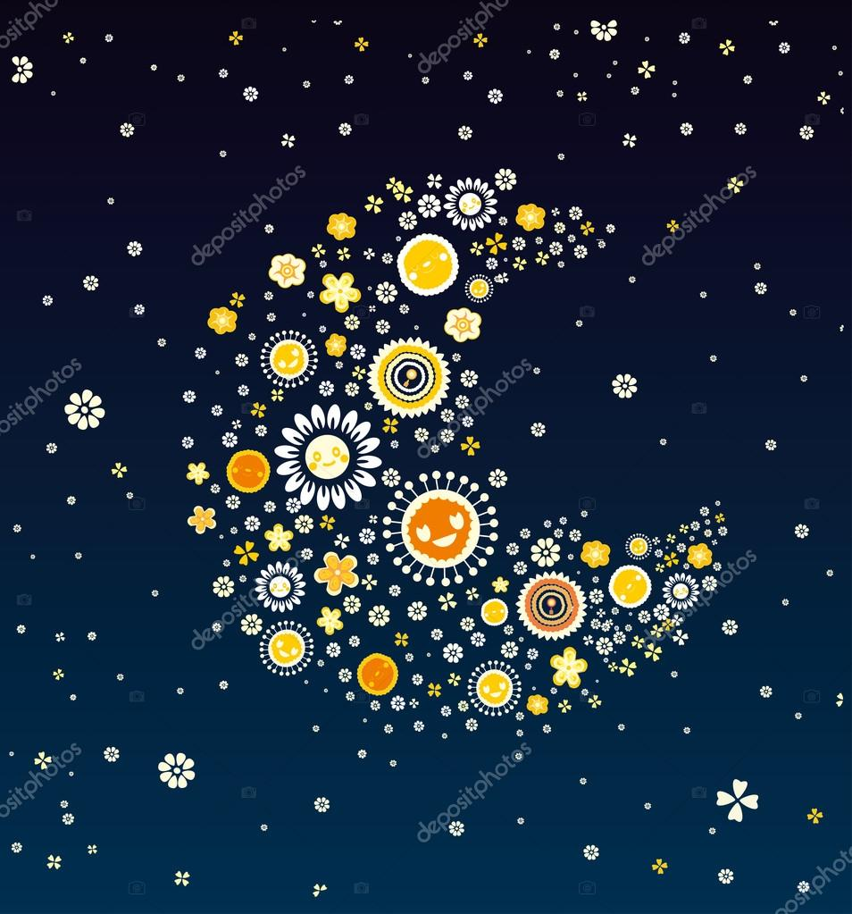 Beautiful night the moon made of flowers stock vector kotyara13 beautiful night the moon made of flowers stock vector izmirmasajfo