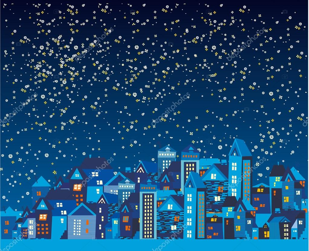 Beautiful night city with the stars stock vector kotyara13 beautiful night city with the stars and the moon made of flowers vector by kotyara13 izmirmasajfo